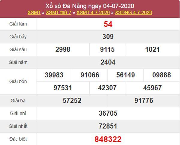 Thống kê XSDNG 8/7/2020 chốt KQXS Đà Nẵng thứ 4