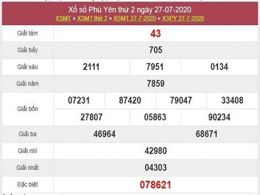 Thống kê xổ số Phú Yên ngày 3/8/2020 chi tiết nhất