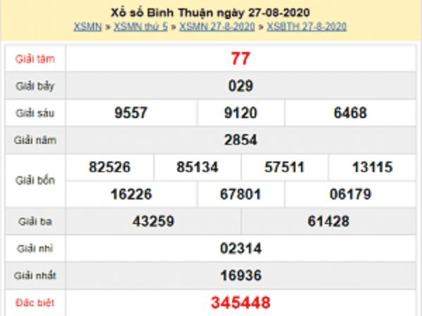 Nhận định KQXSBT- xổ số bình thuận thứ 5 ngày 03/09/2020